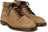 Dolce & Gabbana - Brogue-detailed Suede Boots