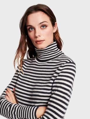 White + Warren Essential Cashmere Striped Turtleneck