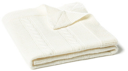 Minerva Cable Baby Blanket, White