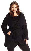 T Tahari Women's Plus-Size Marla Wool-Blend Wrap Coat