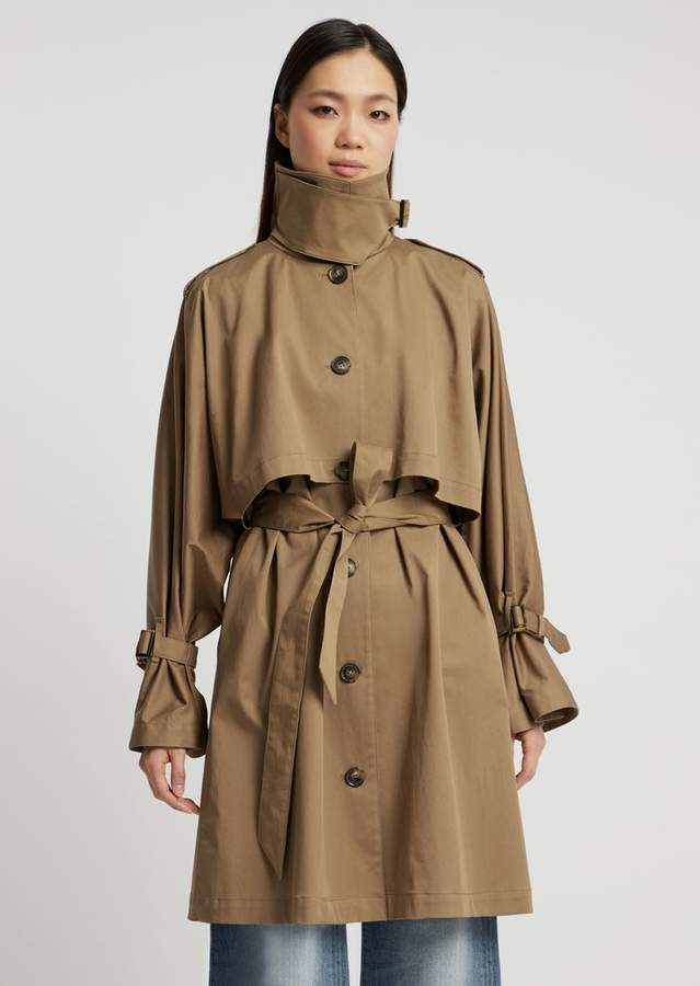 3760d98b11 Stretch Twill Trench Coat With Storm Flap