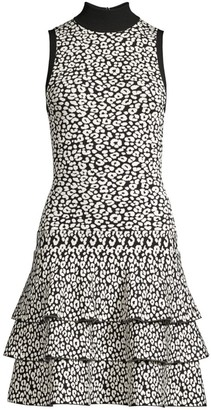 MICHAEL Michael Kors Leopard Print Ruffled Sheath Dress