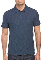 John Varvatos Men's Soft Collar Polo with Peace Sign Chest Embroidery