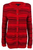 Tommy Hilfiger Women's Striped Knit Cardigan (S, Racing Red)