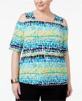 Kasper Plus Size Tie-Dyed Cold-Shoulder Top