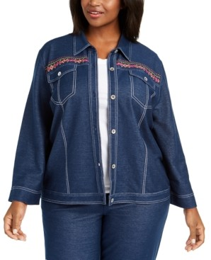 Alfred Dunner Plus Size Road Trip Embroidered Denim Jacket
