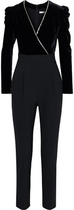 Veronica Beard Cleo Crystal-trimmed Velvet And Cady Jumpsuit