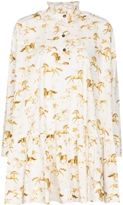 Ganni Horse-Print Flared Mini Dress
