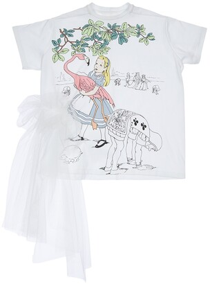 Alice Print Jersey T-Shirt W/ Tulle