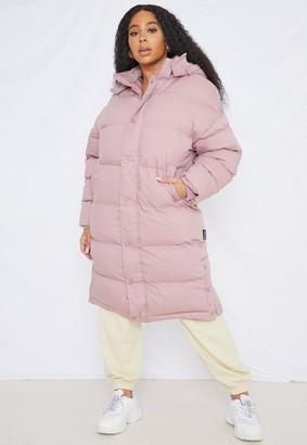 Missguided Plus Size Mocha Longline Padded Puffer Coat