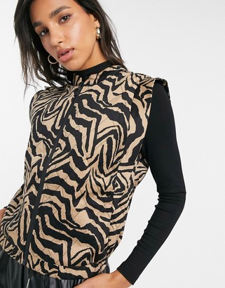 Y.A.S quilted vest in zebra print