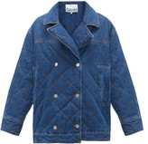 Ganni Quilted Double-breasted Denim Jacket - Womens - Denim