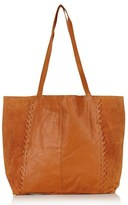 Topshop 'Woody' Whipstitch Detail Leather Shopper Bag - Brown