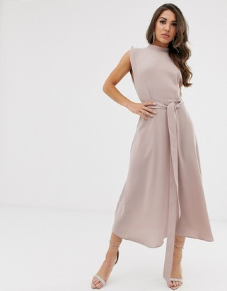 ASOS DESIGN split cap sleeve high neck midi dress with skater skirt