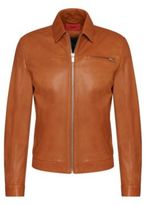Hugo Boss Latnik Lambskin Nappa Leather Jacket M Brown