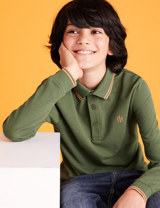 Marks and Spencer Pure Cotton Plain Polo Shirt (6-16 Yrs)