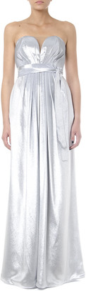 Rhea Costa Metal Silver Silk Heart Shape Long Dress