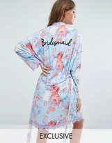 Boohoo Bridesmaid Robe With Lace Edge