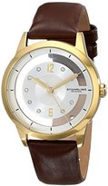 Stuhrling Original Women's 946L.04 Winchester Quartz 23K Gold-Layered Case Brown Satin-Covered Leather Strap Watch