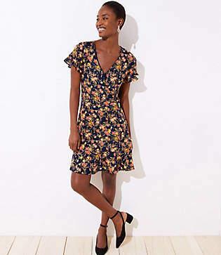 LOFT Petite Bouquet Wrap Flutter Flare Dress