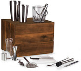 One Kings Lane Madison Tabletop Bar Set - Cherry - box, cherry; tools, silver/black; ice bucket/mixing glass, clear; cutting board, white