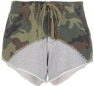 Greg Lauren Camouflage Print Sweat Shorts