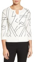 Halogen Three Quarter Sleeve Crewneck Cardigan (Petite)