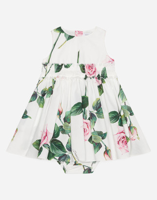 Dolce & Gabbana Long Poplin Dress With Tropical Rose Print