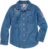 Arizona Long Sleeve Button-Front Chambray Shirt - Girls' 7-16 & Plus