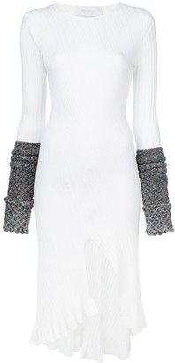 Esteban Cortazar Contrast-Cuff Midi Dress