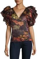 Rosie Assoulin Women's Dust Ruffle Silk Top