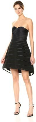 Halston Women's Strapless Striped Dress with Hi Low Dramatic Skirt
