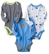 Circo Newborn Boys' 3-Pack Long-Sleeve Bodysuit - Blue
