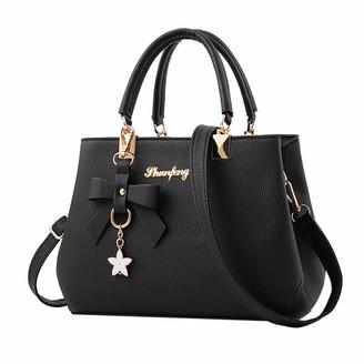 Sonnena Bags Clearence!Sonnena Women Designer Handbags Fashion Large PU Leather Tote Messenger Multi-Compartment Top-Handle Satchel Shoulder Bags Black