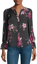 Joie Keno Split-Neck Floral-Print Silk Top