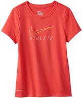 "Nike Girls 7-16 Dri-FIT ""Athlete"" Swoosh Tee"