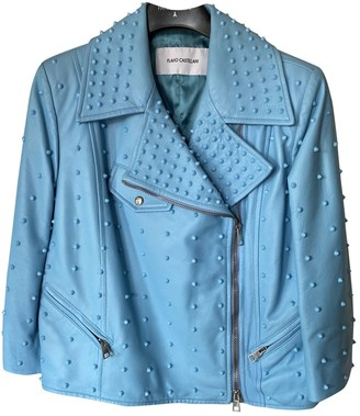 Flavio Castellani Blue Leather Jacket for Women