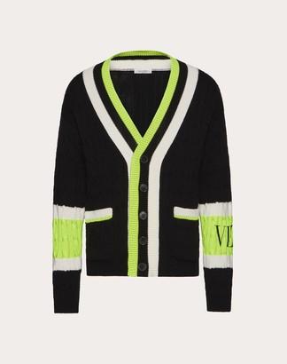 Valentino Wool Cardigan With Vltn Intarsia Man Black/neon Yellow Virgin Wool 100% M