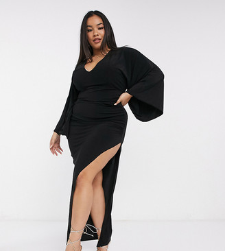 Club L London Plus plunge maxi dress in black