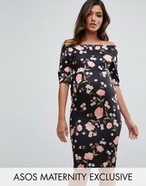Asos Bardot Dress with Half Sleeve in Rose Floral Print