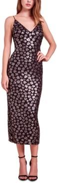 SHO Sequined Animal-Print Midi Dress