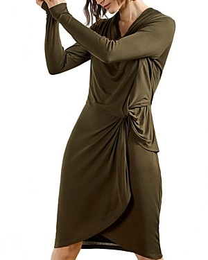Ted Baker Jersey Drape Long Sleeve Mini Dress