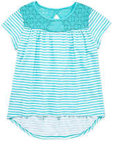 Arizona Short Sleeve Hi Low Lace Inset Top - Girls 4-16 & Plus