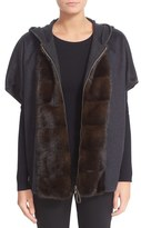 Fabiana Filippi Women's Hooded Cashmere Flannel Cape With Genuine Mink Fur Trim