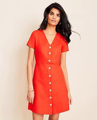 Ann Taylor Petite Cotton Linen Button Flare Dress