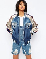 Asos Premium Embroidered Bomber Jacket with Tipped Rib