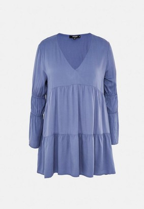 Missguided Plus Size Blue V Neck Tiered Mini Dress