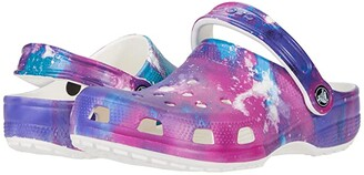 Crocs Classic Out of This World Clog (Toddler/Little Kid/Big Kid) (White/Purple) Kid's Shoes