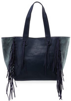 Urban Originals Piper Fringe Faux-Leather Tote Bag, Navy