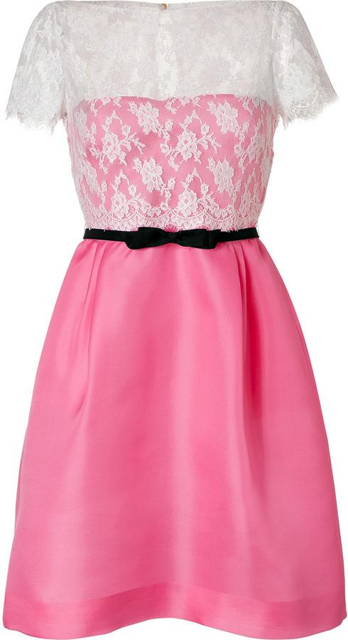 Valentino Light Pink/White Belted Silk Lace Dress